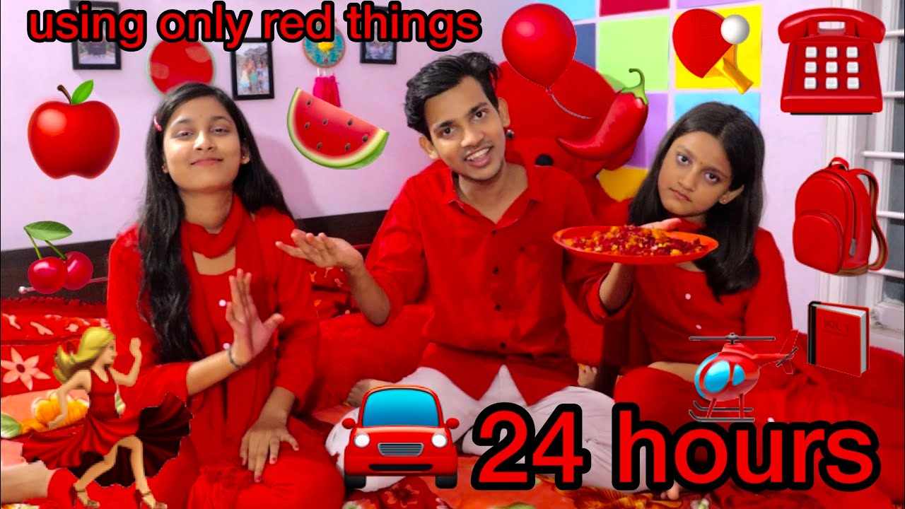 Download Using only Red things for 24 hours || eating only red food || challenge