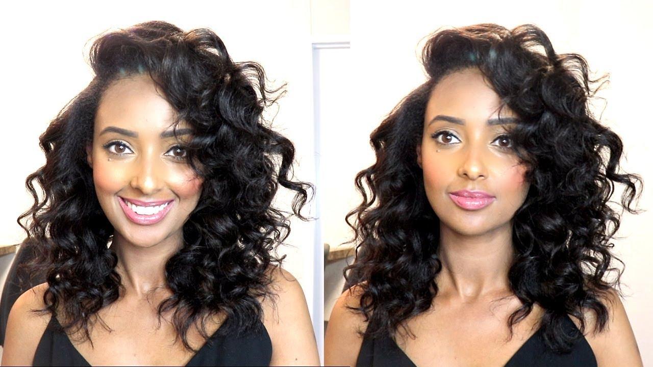beach waves & soft curls w/curling iron wand natural hair tutorial