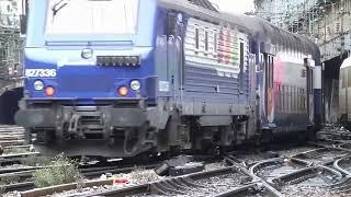 Trains en Gare de Paris St Lazare  Huge Railway traffic !