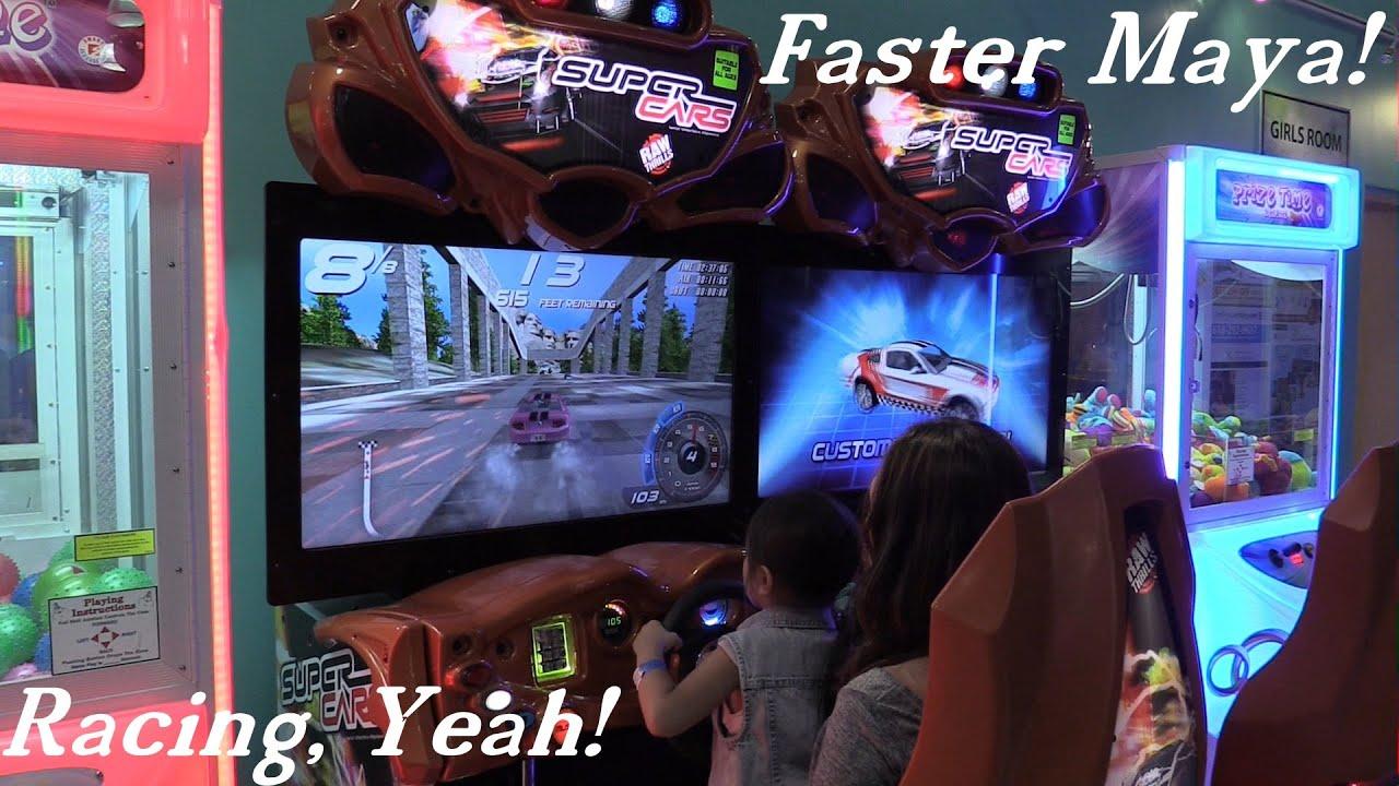Amusement Park: Super Cars Arcade Game Playtime w/ Hulyan and Maya + Basketball Time Fun! - YouTube
