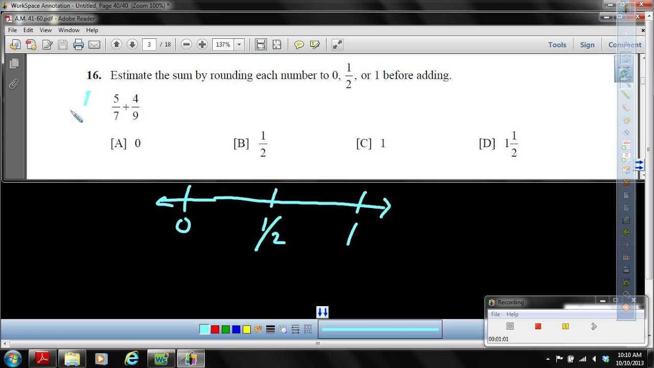 Objective 56 Estimate a fraction sum using benchmark numbers 0, 1 ...