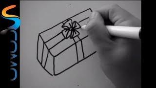 Cómo hacer un regalo en dibujo - How to make a gift in drawing