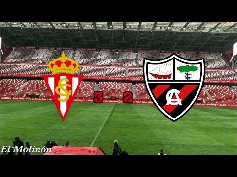 """Real Sporting de Gijón """"B"""" 3, Arenas de Getxo 2. Resumen."""