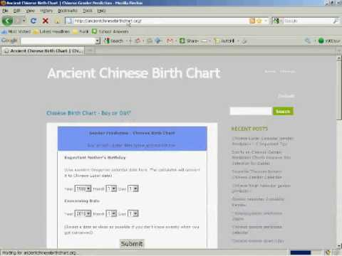Chinese Birth Chart How To Predict Baby Gender Youtube