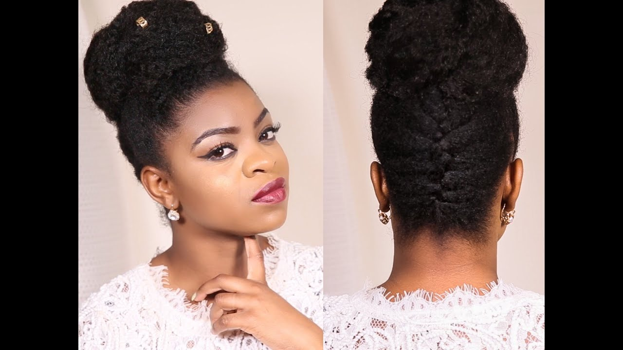 French Braided Updo Bun On 4b C Natural Hair Protective