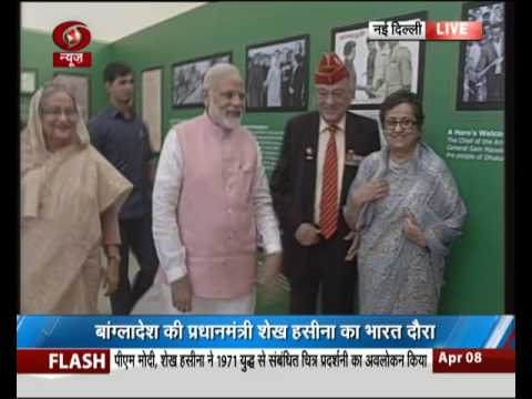 PM Modi & Bangladesh PM Sheikh Hasina at a programme to honour Indian soldiers martyred in 1971 war