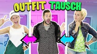 WIR TAUSCHEN UNSERE KLEIDUNG! KAAN ZIEHT MÄDCHEN OUTFIT AN! Switching Clothes Challenge