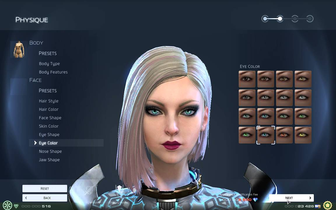 skyforge female character creation all options shown no