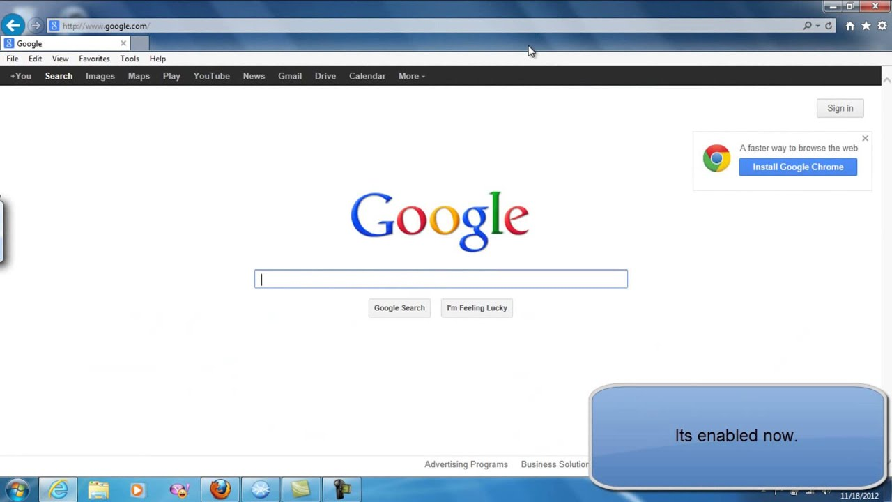How to show tabs on a separate row in internet explorer 10 for Fenetre windows 7