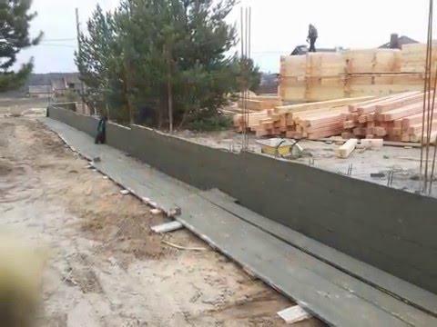 Армированный бетонный забор под облицовку камнем