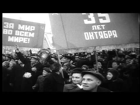 35th anniversary celebrations of October socialist revolution in Moscow, Soviet U...HD Stock Footage