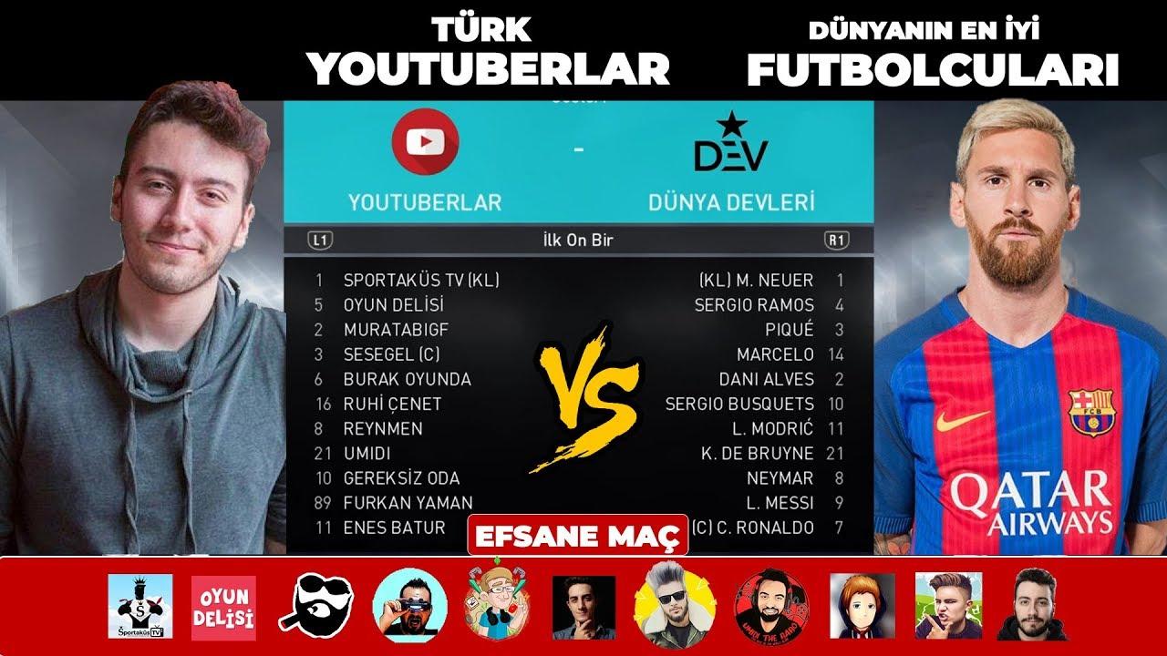 TÜRK YOUTUBERLAR vs DÜNYANIN EN İYİ FUTBOLCULARI - PES 2018 DOSTLUK MAÇI