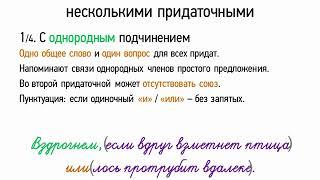 Сложноподчиненные предложения с несколькими придаточными (9 класс, видеоурок-презентация)