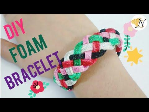 Easy DIY Bracelet Projects DIY MultiColored glitter Foam sheet Friendship bracelet band