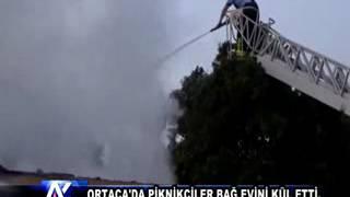 AYTV AYDIN Ortaca'da piknikçiler bağ evini kül etti