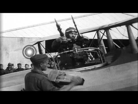 Salmson 2A2 aircraft of Aerial Recon Squadron.Pilot and observer-gunner board air...HD Stock Footage