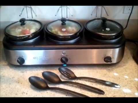 ge 3 crock slow cooker buffet review youtube rh youtube com ge 3-crock slow cooker buffet ge 3-crock slow cooker buffet