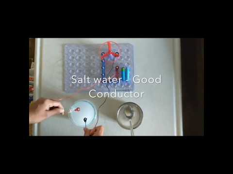 Pure Water Vs. Salt Water Electrical Conductivity Using Snapcircuits