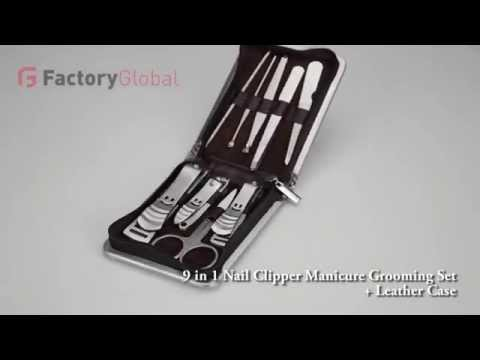 MB-H4490 9 in 1 Nail Clipper Manicure Grooming Set + Leather Case