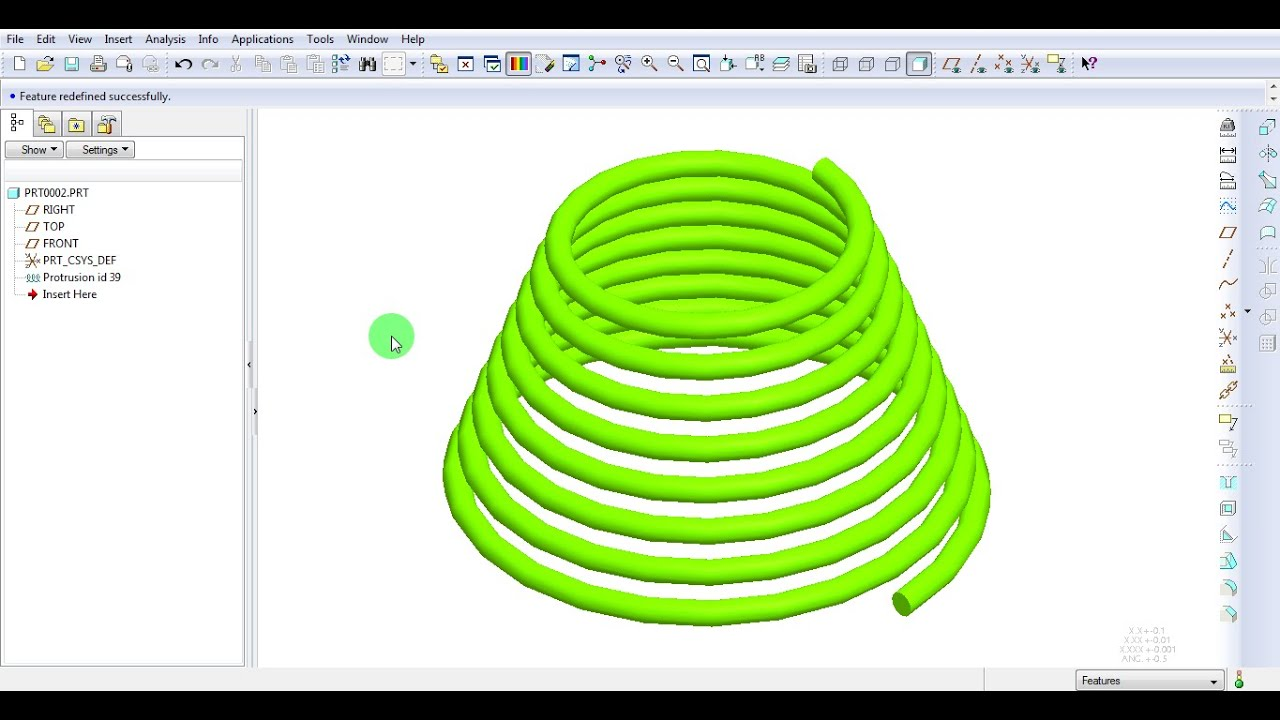 Pro E Creo Conical Spring Helical Sweep Tutorial