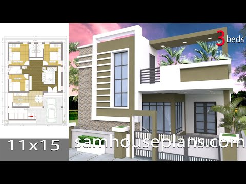 Sketchup One Story House / 3 Bedroom House Plot Size 36x50