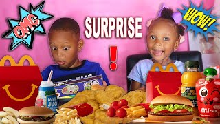 SURPRISING JUJU & LAYLA + CHICKEN NUGGETS AND CHEESEBURGER MCDONALDS MUKBANG 먹방 | QUEEN BEAST