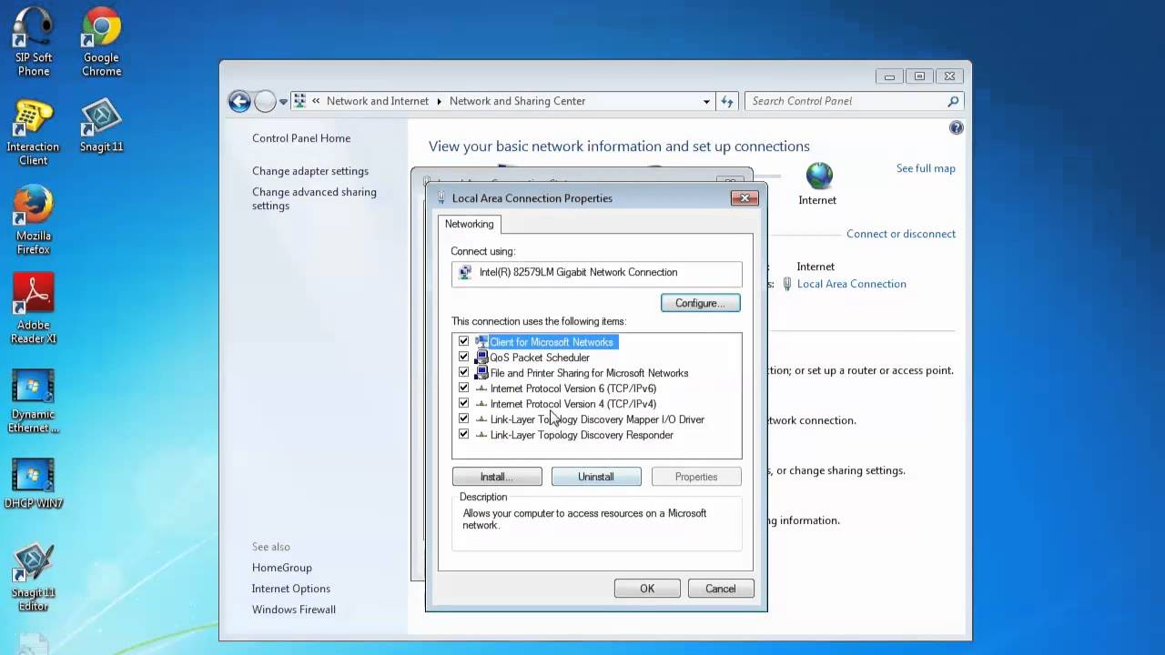 How to Connect to Dynamic Ethernet (DHCP) on Windows 7