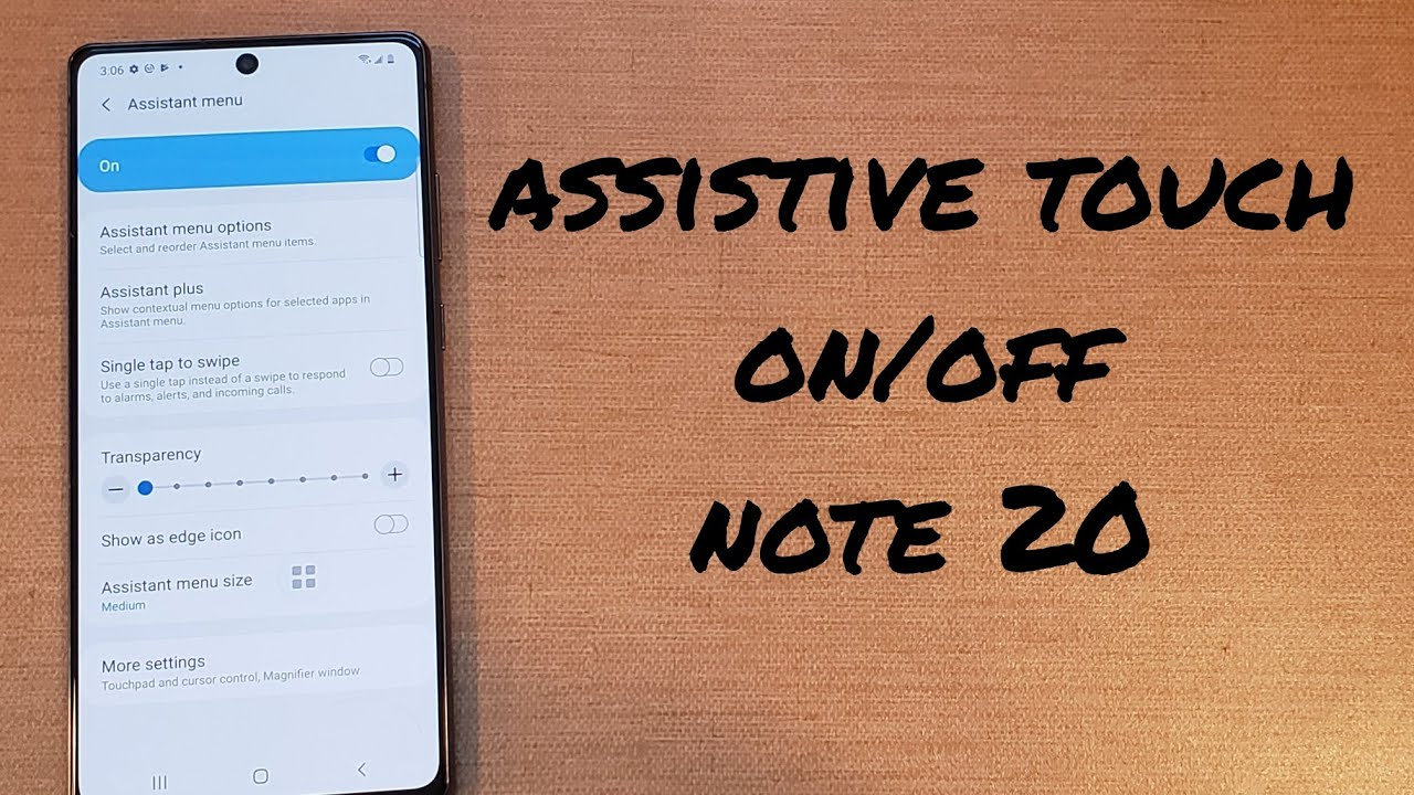 how to turn assistive touch on/off Samsung Galaxy Note 20