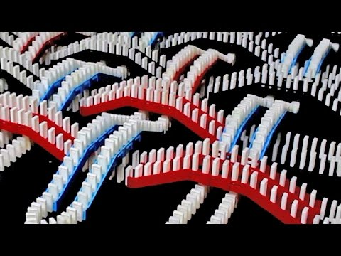 Domino enthusiast Flippycat uses a huge collection of Domino Rally sets to screen link this longer chain reaction together – 35 scenes to…