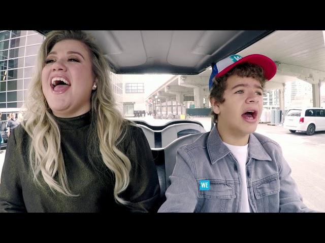 Gaten Matarazzo drives Kelly Clarkson to WE Day - WE Day Shuttle