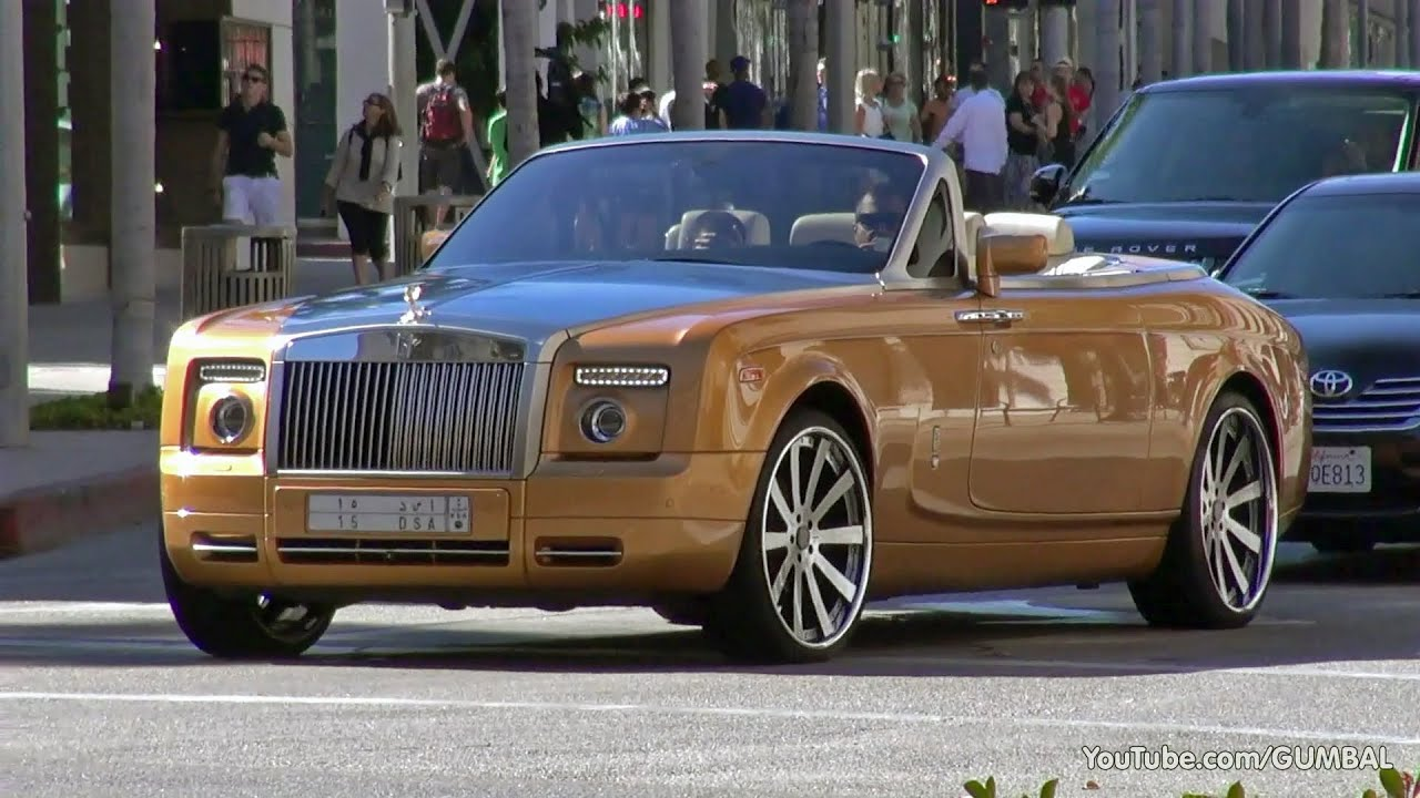 Arab Rolls-Royce Phantom Drophead Coupe with a Gold Spirit of ...