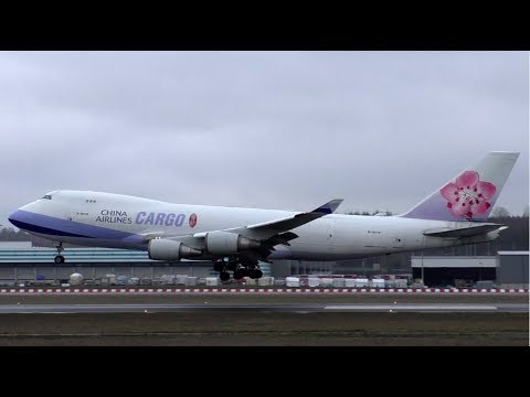 China Airlines Boeing 747-400F Landing at Luxembourg Airport