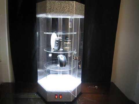 Wonderful rotating acrylic display case show with LED light - YouTube UR95