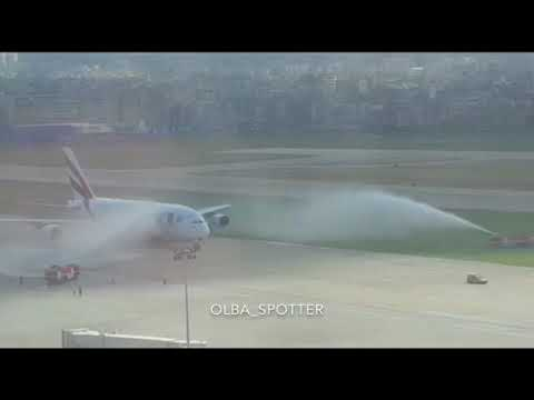 A380 Water salute in Beirut