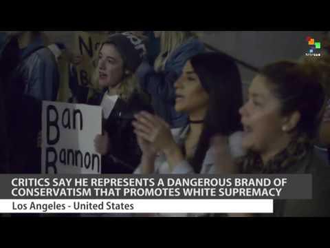 Protesters Condemn Trump Appointee Steve Bannon