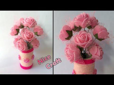 DIY make Flower Vase with PVC pipe Wool | GULDASTA | Wool craft | PVC pipe ideas | basic craft ideas