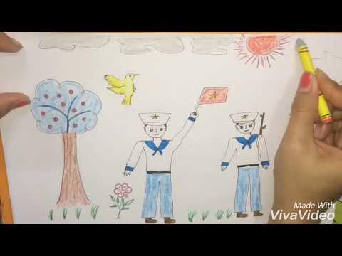 tranh vẽ chú bộ đội lớp 6 đẹp nhất - Tranh vẽ chú bồ đội hảo quân