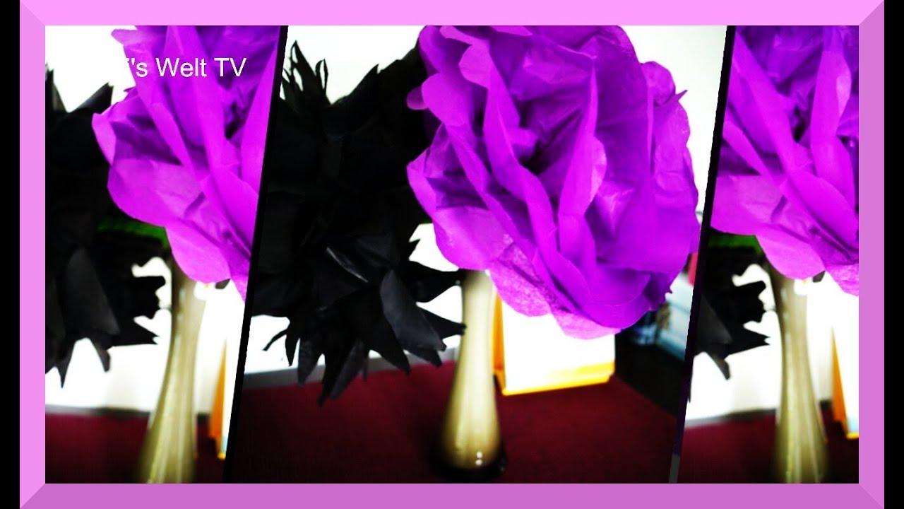 papierblumen basteln aus seidenpapier how to tissue paper pom poms muttertagsgeschenk youtube. Black Bedroom Furniture Sets. Home Design Ideas