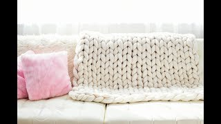 HOW TO HAND KNIT CHUNKY BLANKET