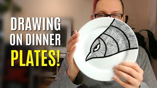 Drawing on dinner plates with ruling pen and ceramic paint | #6