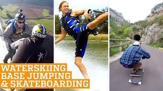 TOP THREE Barefoot Waterskiing, Base Jumping & Downhill Skateboarding | PEOPLE ARE AWESOME