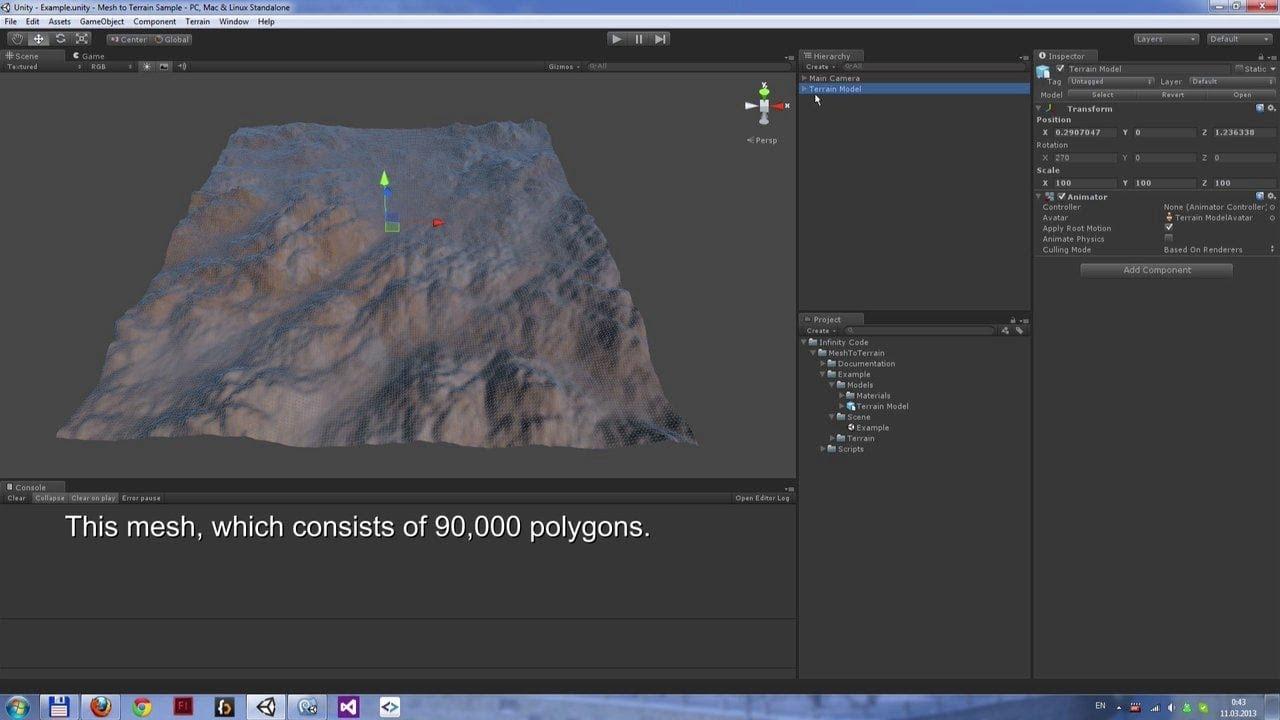 Unity3D Mesh to Terrain   Unity Asset
