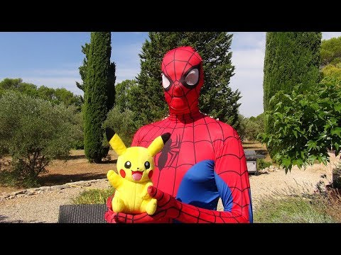 spiderman et elsa la reine des neiges avec b b pikachu youtube. Black Bedroom Furniture Sets. Home Design Ideas