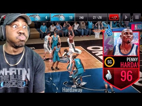 96 FAN HERO PENNY HARDAWAY DUNKING ON EVERYONE! NBA Live Mobile 16 Gameplay Ep. 100