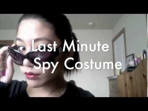 & Last Minute Spy Halloween Costume Hair u0026 Makeup Tutorial - YouTube