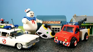 Fireman Sam and Ghostbusters House and Car on Fire Firefighter Sam Episode 37 Marshmallow Man