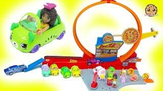 Shopkins Cutie Cars + Hot Wheels Speedie Pizza Drive Thru Race Track Loop - Cookie Swirl C
