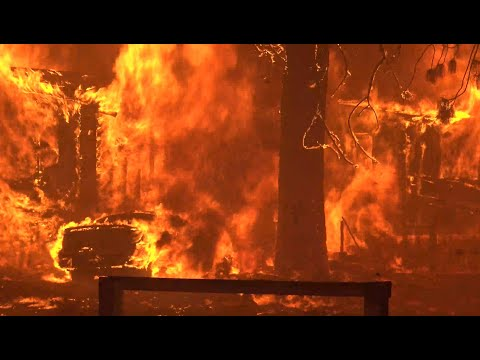 DIXIE FIRE: Raw video of flames burning through the community of Greenville