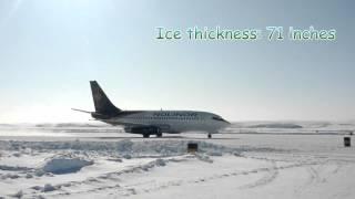 737 landing on a frozen lake in Nunavut