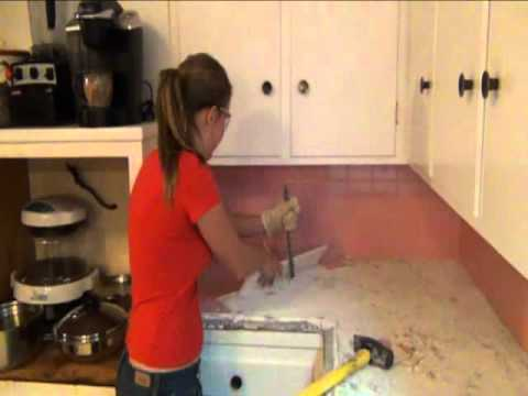 stephanies step by step kitchen remodel step 1 demo of old tile countertops - Removing Tile Backsplash